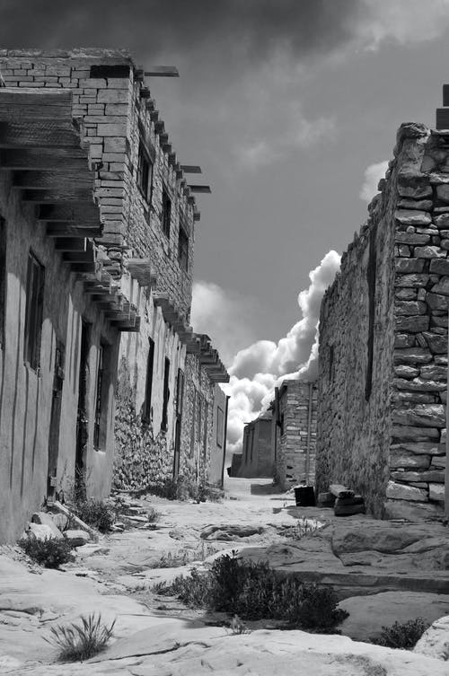 Grayscale Photo of Ancient Ruins