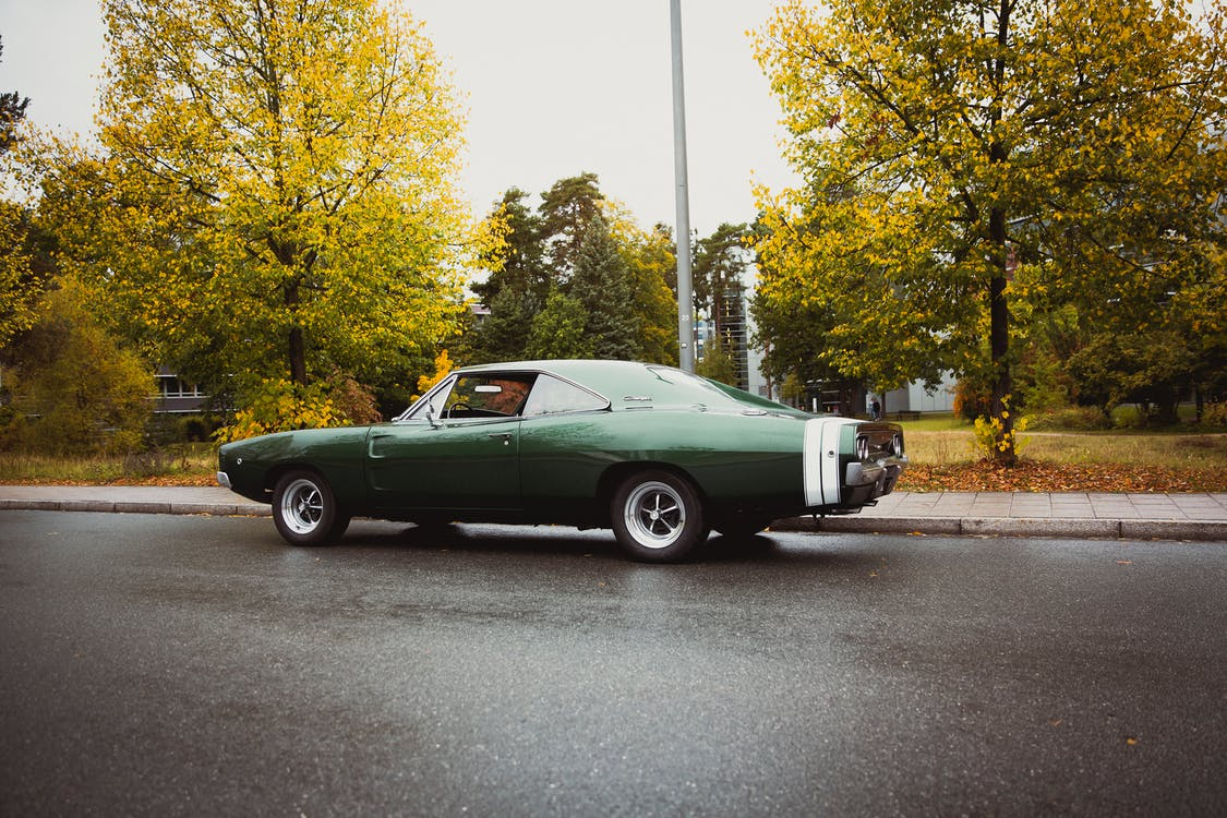 Green Coupe on Road Parked Near Tree