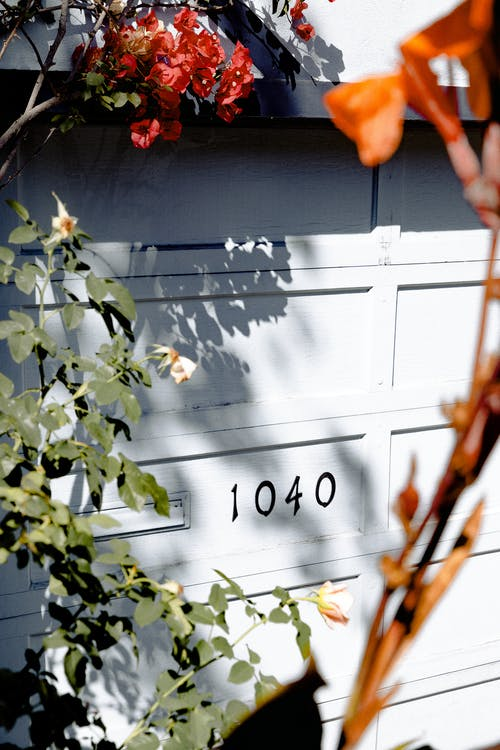 White 1040 Numbers on Garage Gate
