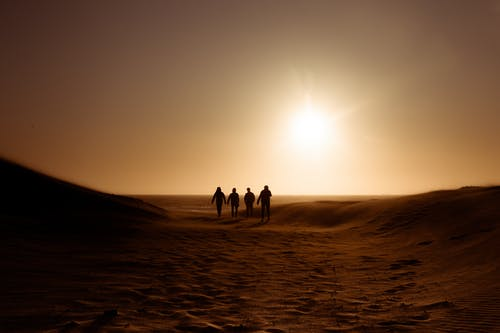 Silhouette of People Walking on Sand Dune