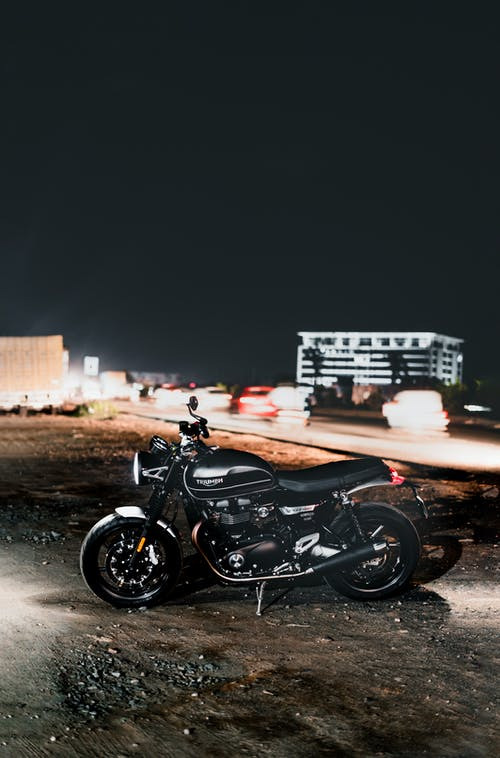 Black Motorcycle at Night