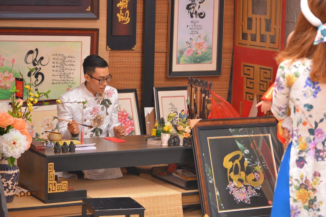 affär, asiatisk, blomma