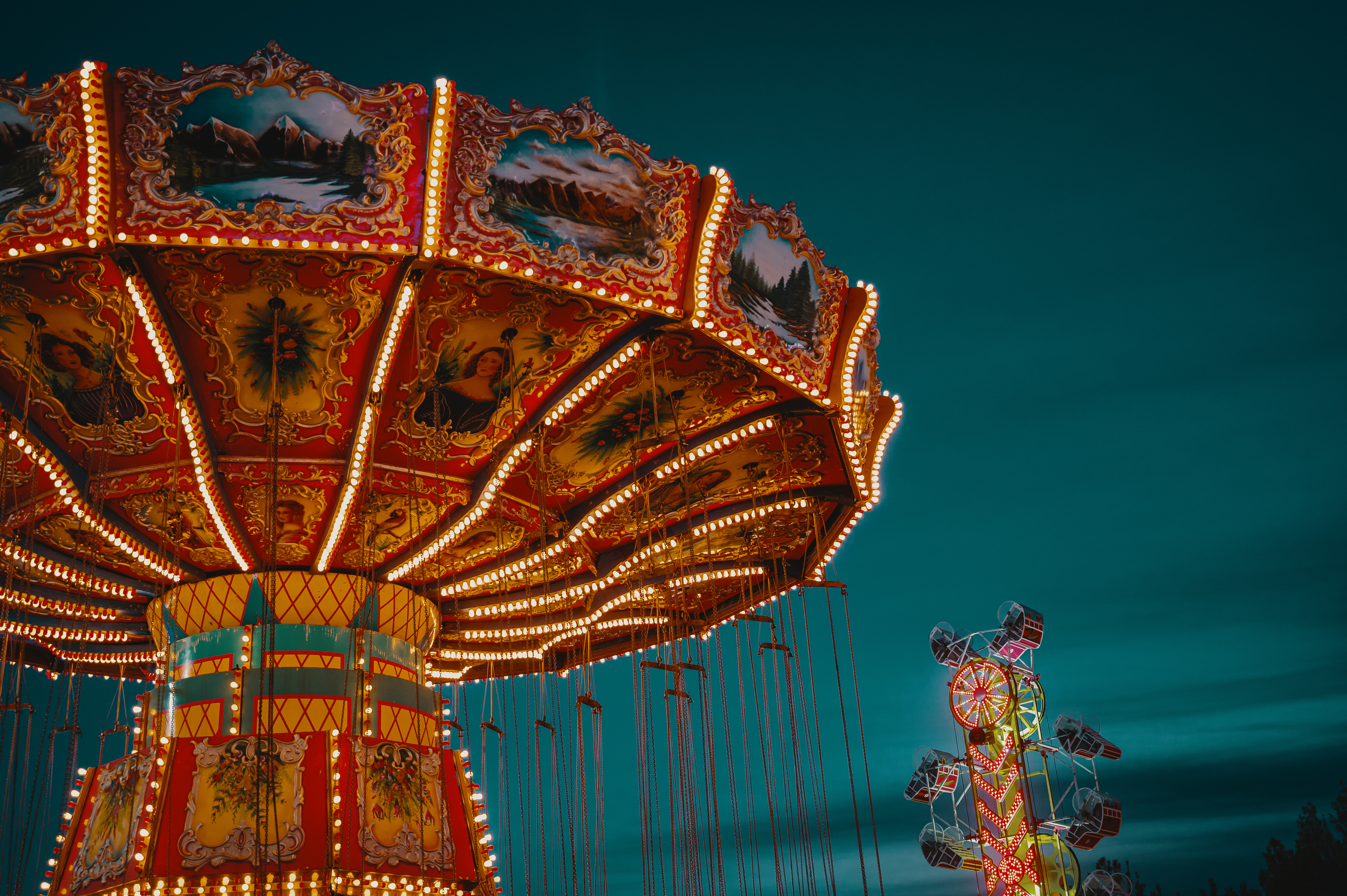 Brown and Red Lighted Carousel