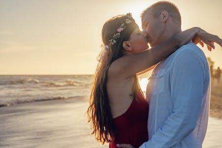 Couple Kissing on Seashore