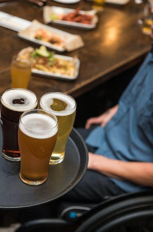 bar, brett, drikkeglass