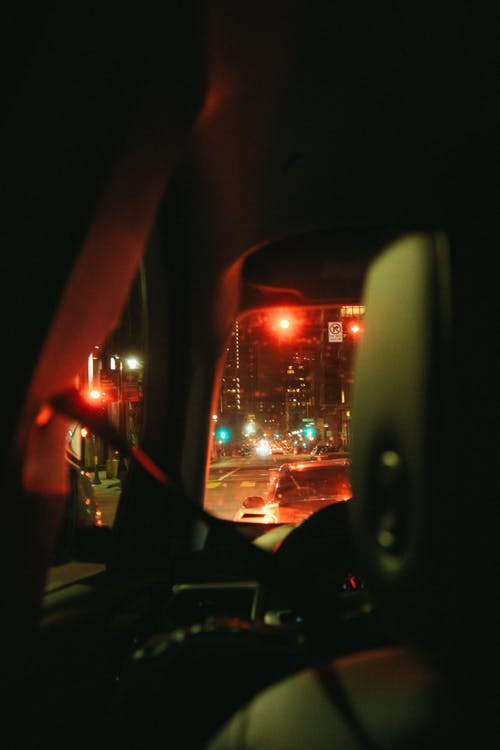 View Of The Road From Inside A Car