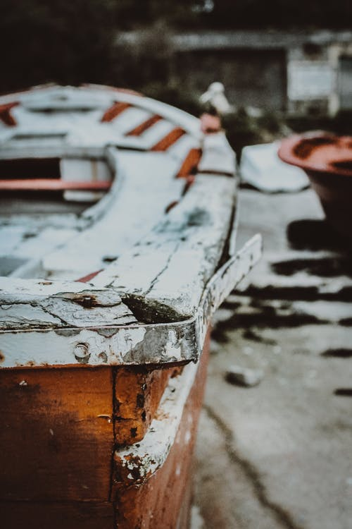 Close-Up View Of An Old Wooden Boat
