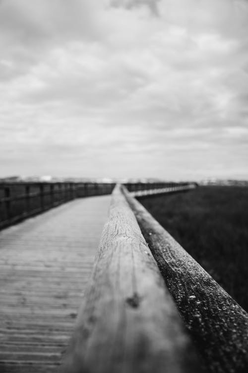 Grayscale Photography Of A Wooden Bridge