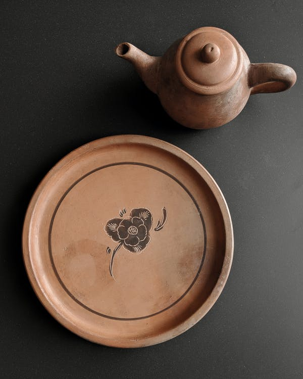Peach Color Teapot and Plate