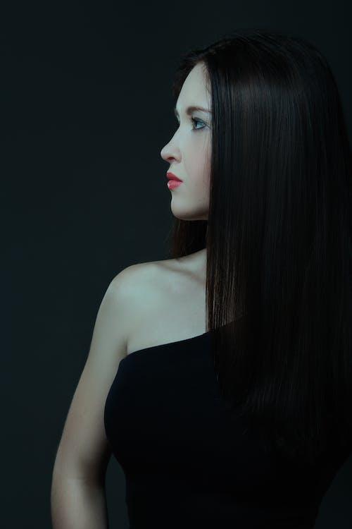 Woman Wearing Black One-shoulder Top