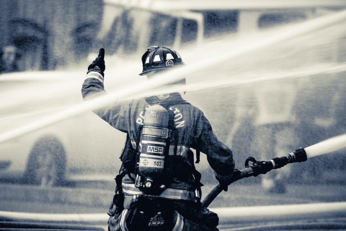 black and white, fire, fire fighters