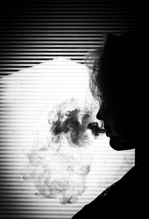 剪影, 抽煙, 陰影 的 免费素材照片