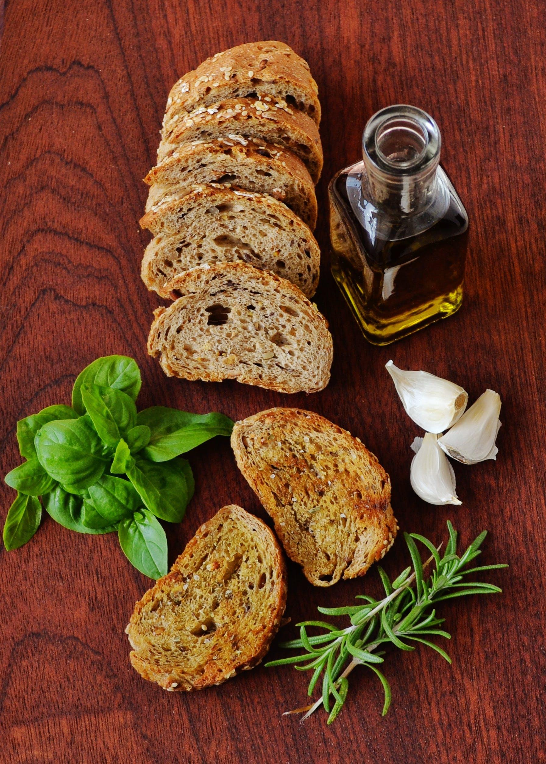 bottle, bread, food
