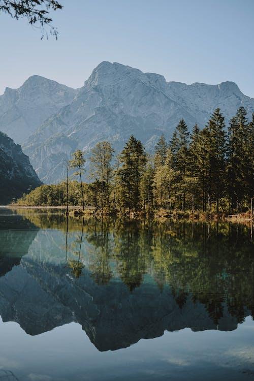 Scenic Photo of Lake Across Mountain