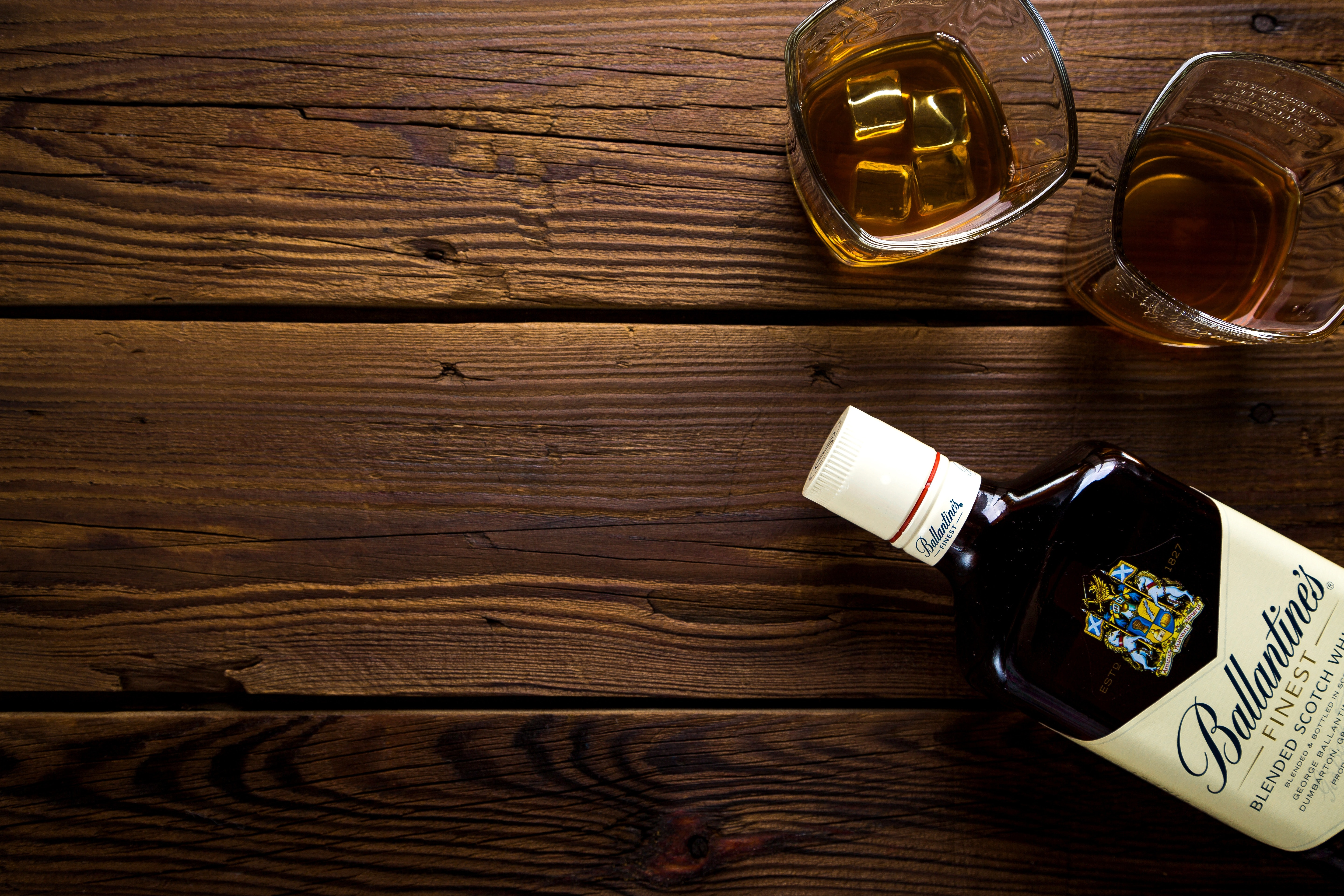Whisky Full Hd Wallpaper And Background: Ballantine's Bottle With Two Rock Glasses · Free Stock Photo
