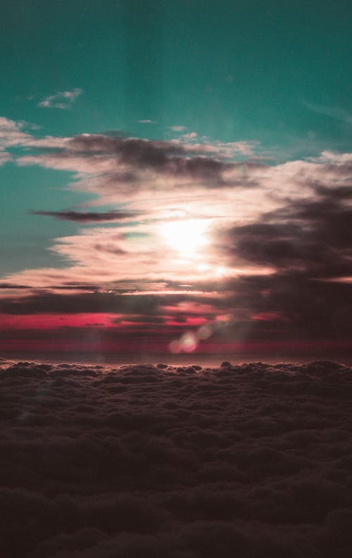 Free stock photo of airplane, clouds, colorful, dark