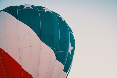 Blue, White, and Red Hot Air Balloon