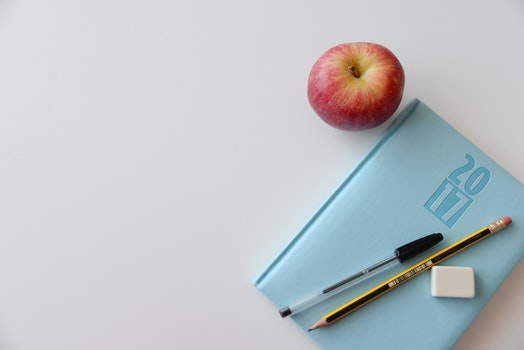 Free stock photo of apple, notebook, office, pen