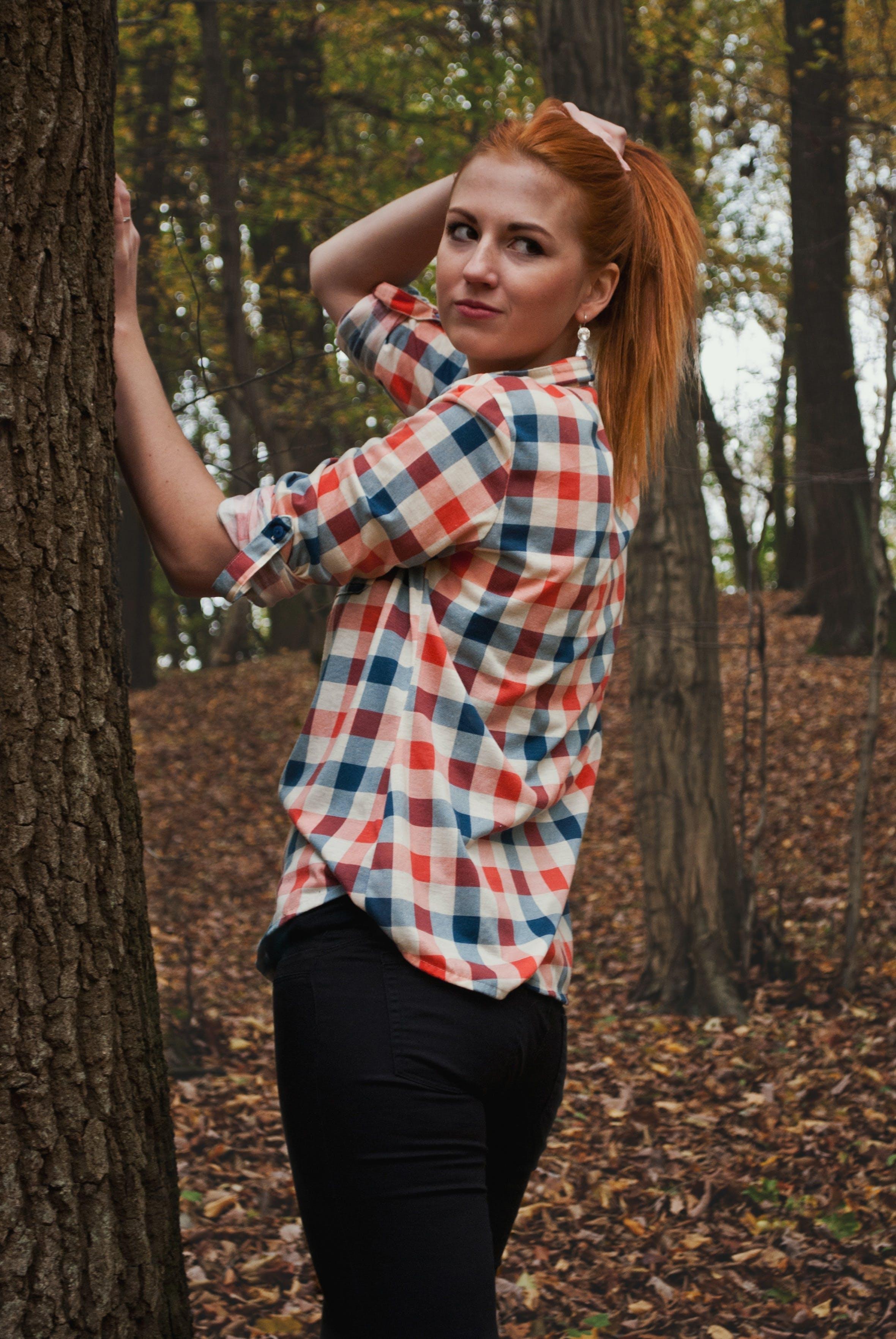 Free stock photo of girl, forest, jacket, autumn