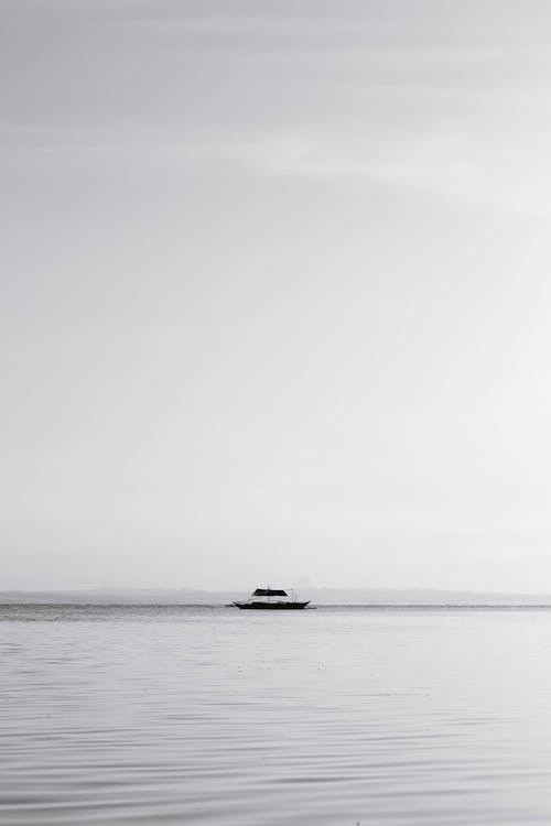 Free stock photo of bamboo boat, beautiful, black and white