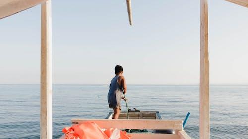 Бесплатное стоковое фото с бамбуковая лодка, лодка, море, океан