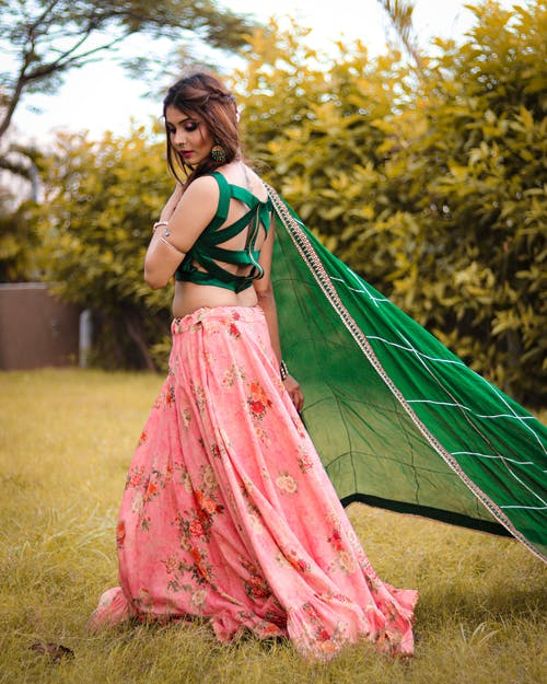 Photo Of Woman Wearing Green Sari Dress