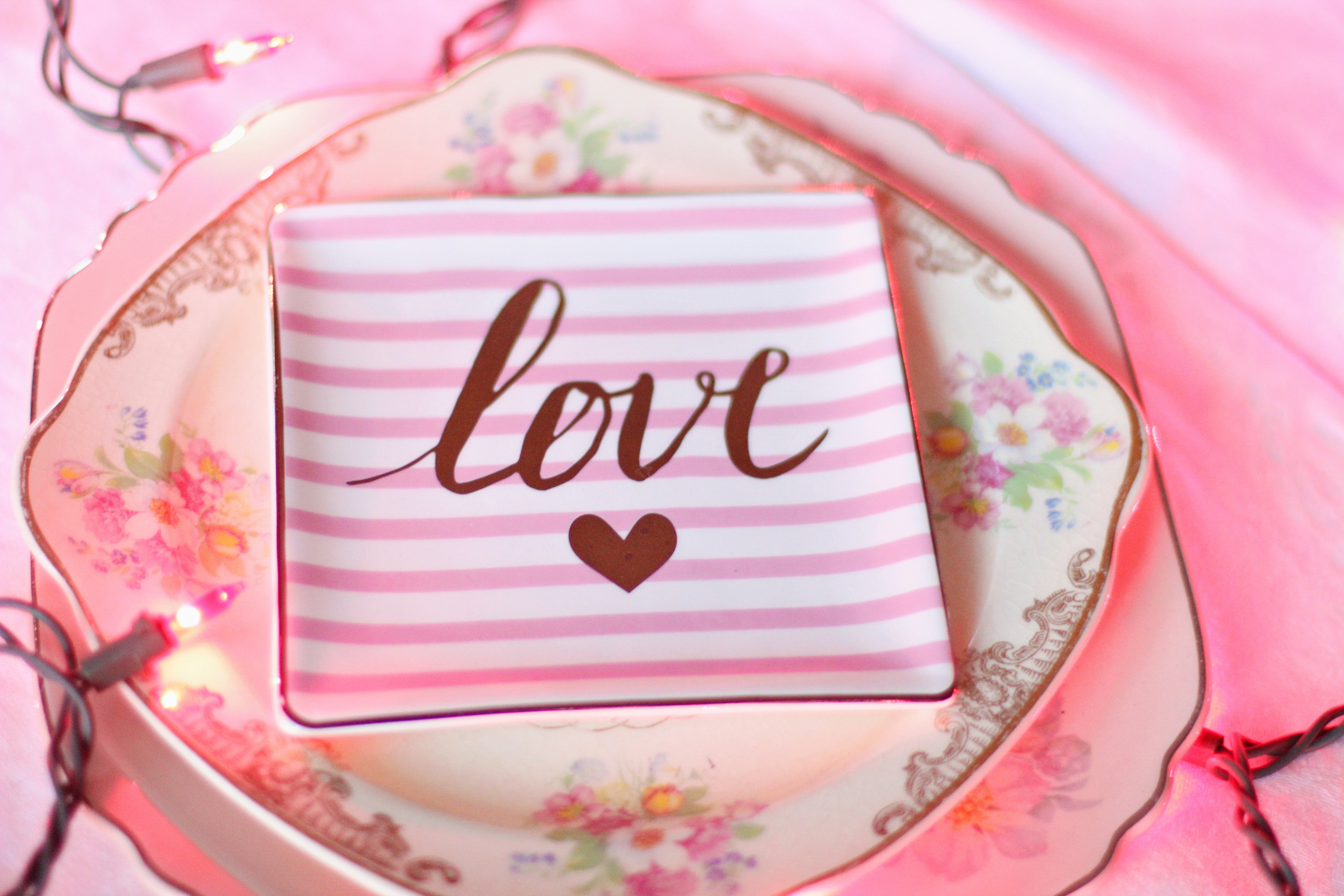 White and Pink Ceramic Plate