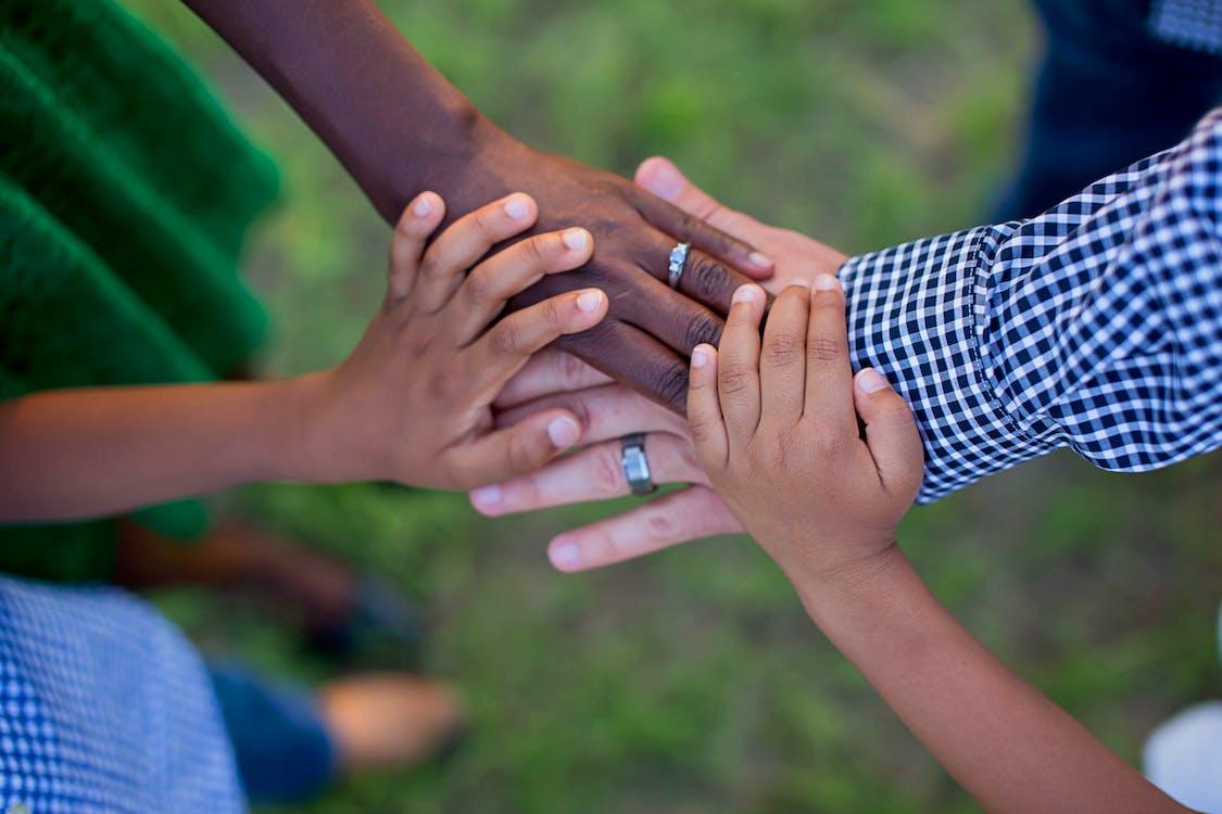 family, hands, interracial family