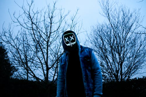 Person Wearing LED Mask