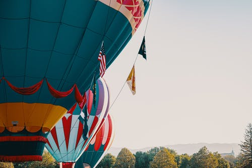 Three Asorted-color Hot Air Balloons