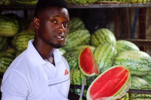 Free stock photo of african man, chef, watermelons