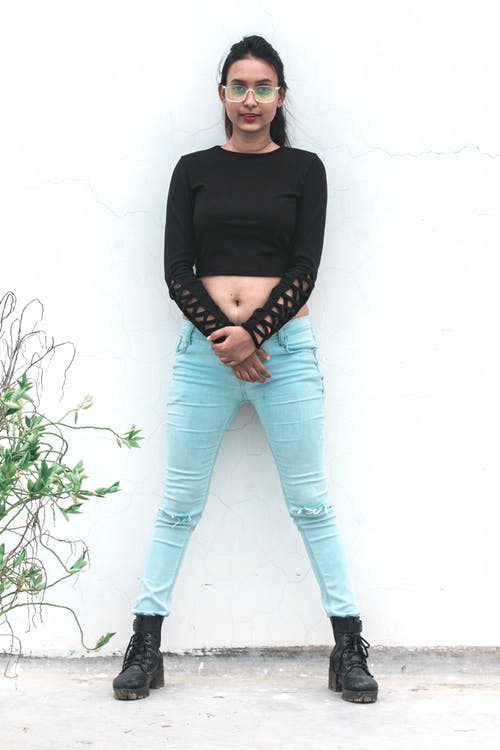 Free stock photo of black top, blue jeans, boots, crop top