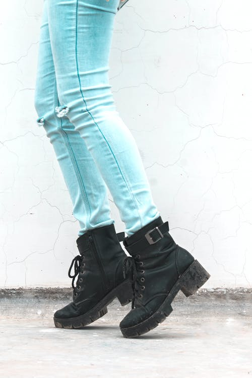 Free stock photo of black boots, black heels, blue jeans, boots