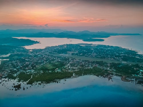 Gratis arkivbilde med dronefotografi, Filippinene, øy, solnedgang
