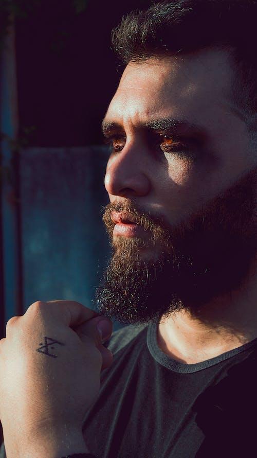 Free stock photo of beard, man, red eyes