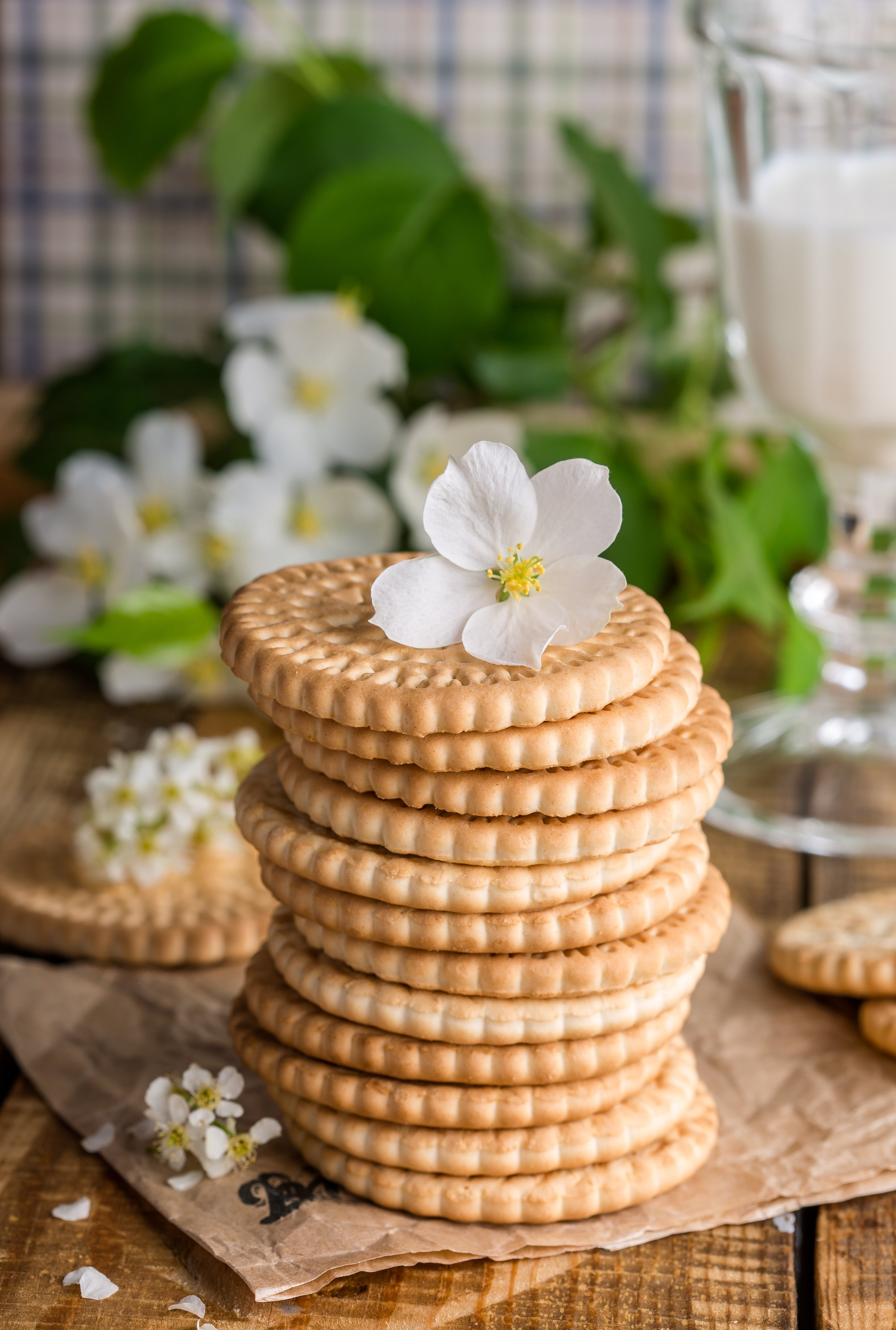 Pile of Biscuits With Flower on Top