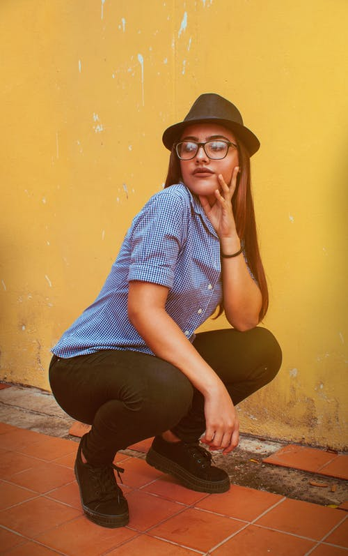 Free stock photo of girl, hat, hipster, yellow