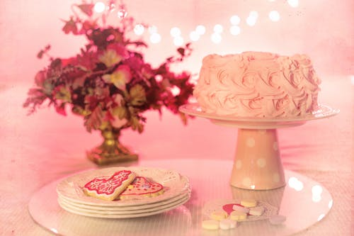 Pink Icing Cake on Cake Stand