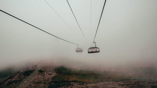 Cable Cars Across Foggy Mountain