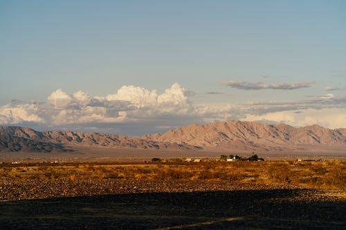 橫跨山脈的草原照片