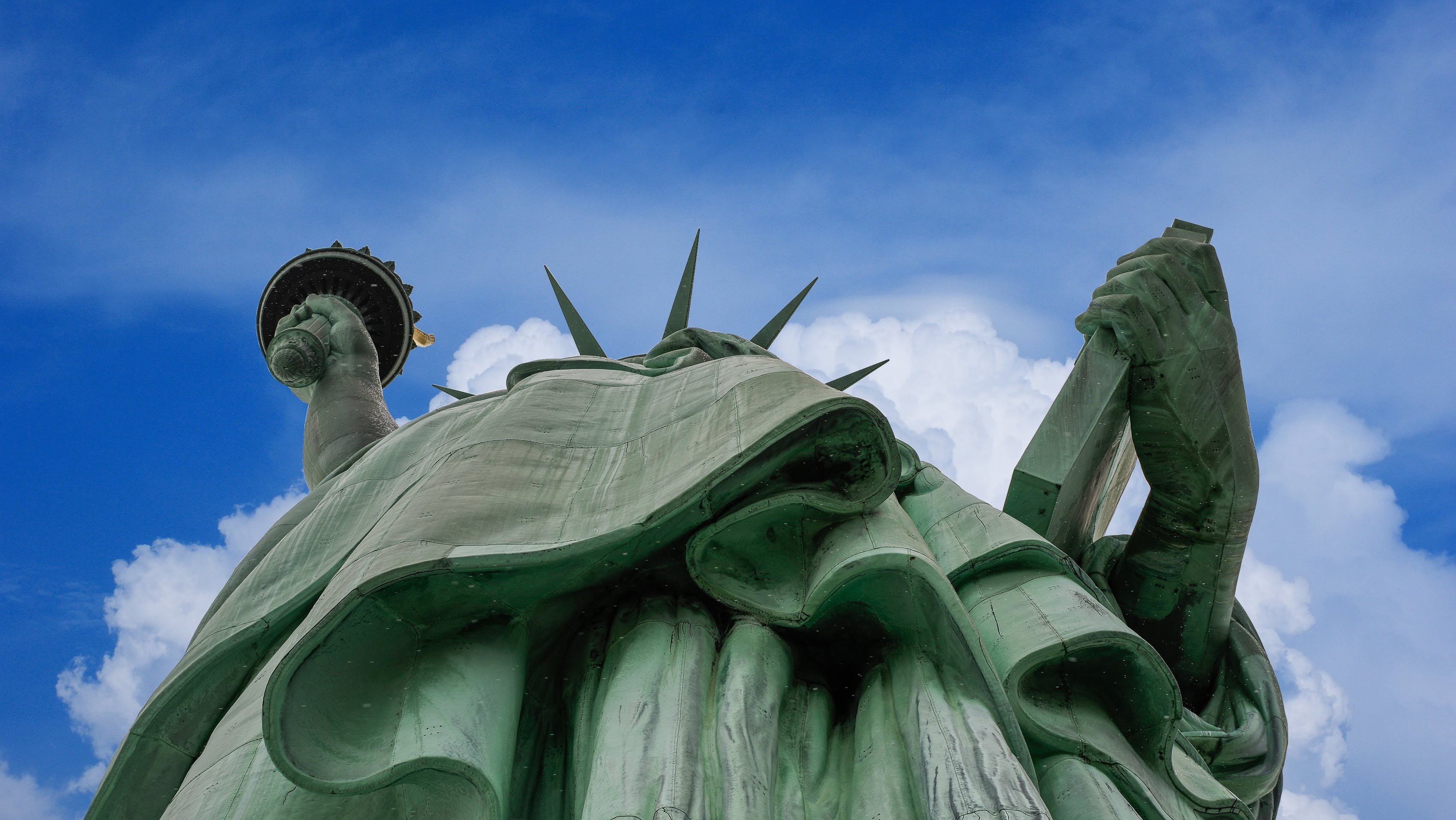Free stock photo of clouds, blue, tablet, Statue of Liberty