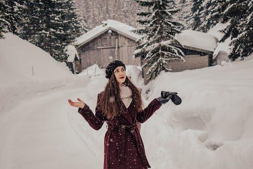 Фотография женщины в фиолетовом пальто