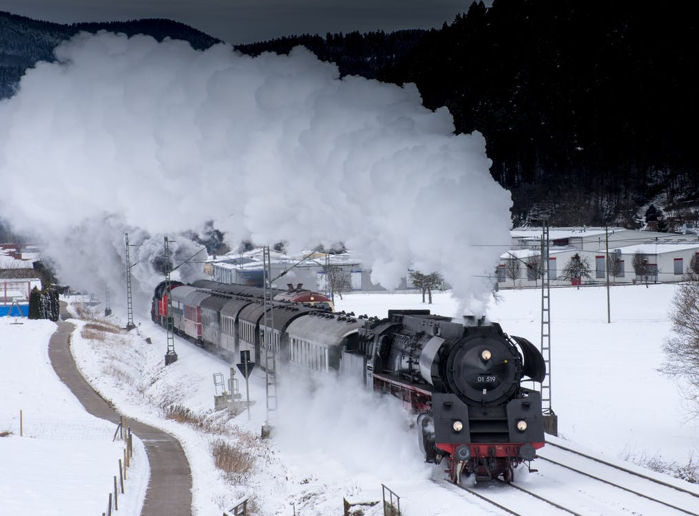 Train Traveling on Snow