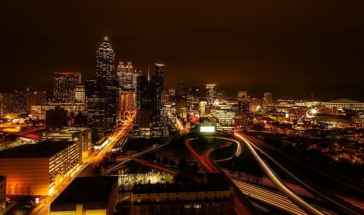 arquitectura, autopista, brillar
