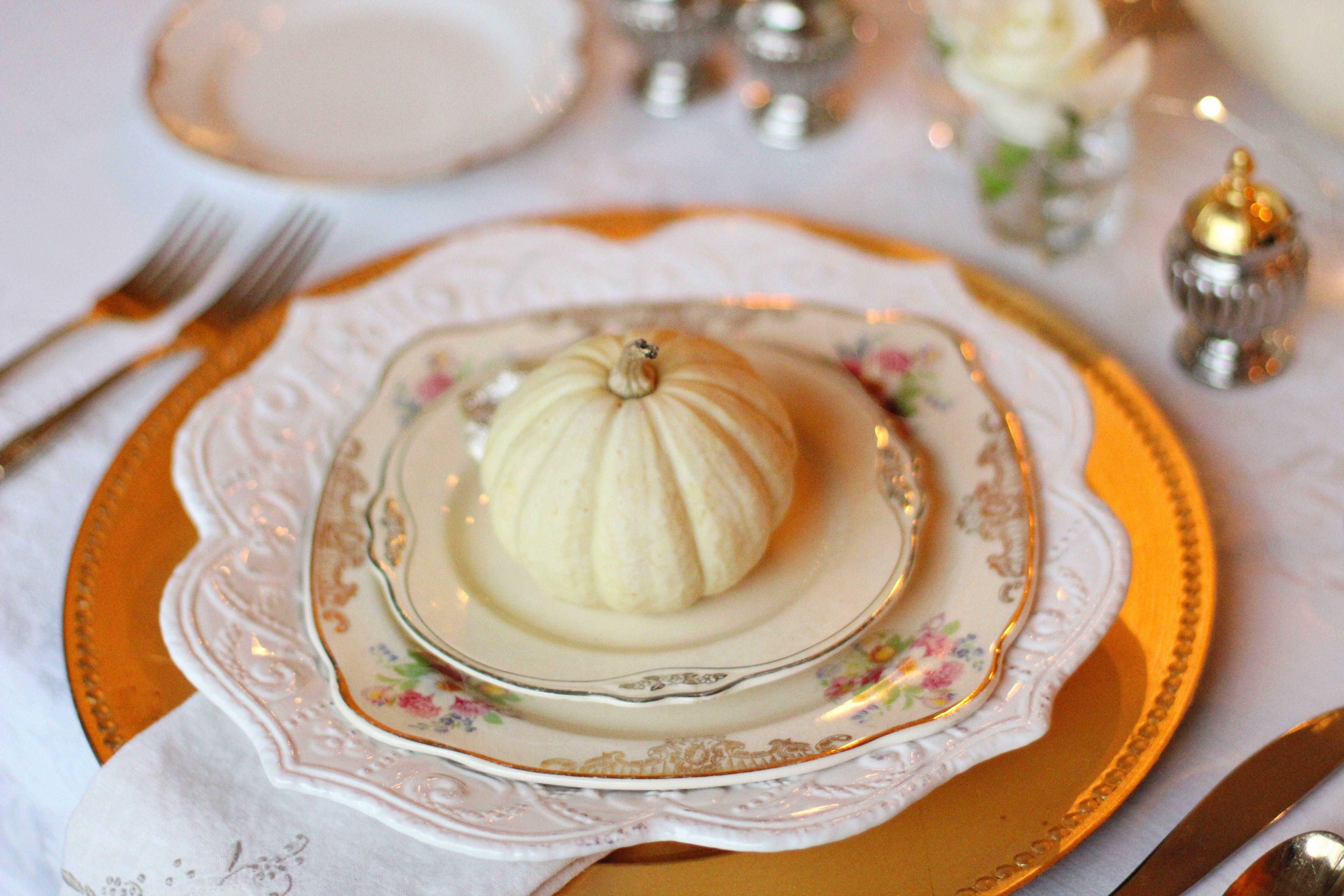 White Floral Ceramic Saucer