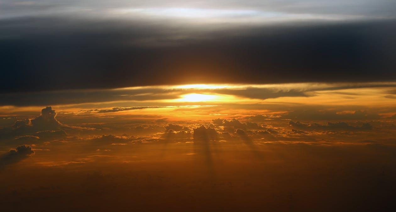 amanecer, cielo, horizonte