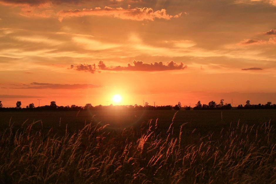 abendstimmung, afterglow, agriculture