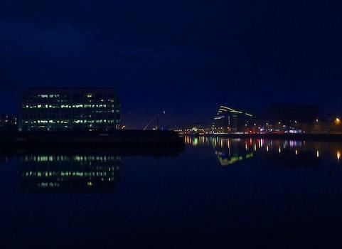Free stock photo of sea, night, water, dublin