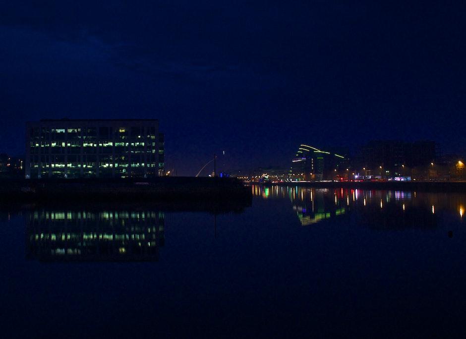 dublin, night, reflections