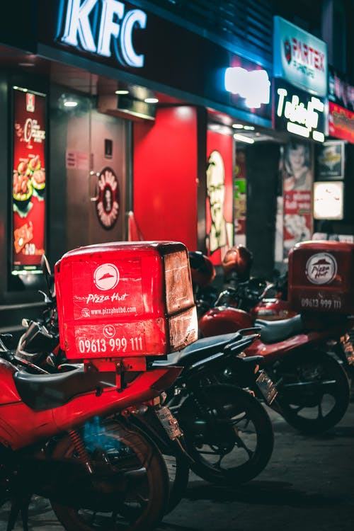 aparcado, comercio, comida rápida